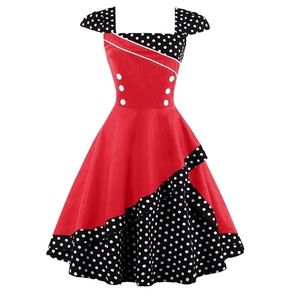 VINTAGE Style Red/White/Blk Polka Dot Swing Dress